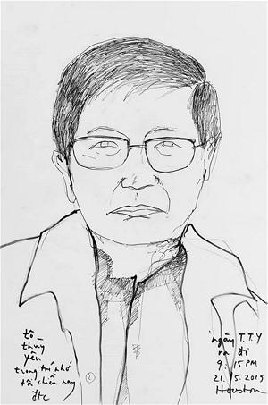 Nhà thơ Tô Thùy Yên qua nét vẽ của họa sĩ Đinh Trường Chinh. (Hình damau.org)